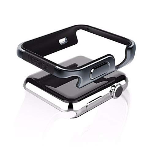 qichenlu [Defense Edge Space Grau&Schwarz CNC Eloxiertes Aluminium Rahmen Case für Apple Watch 44mm,Uhr Gehäuse Schutz Cover Stoßfest Metall Bumper Hülle kompatibel mit Apple Watch 44mm
