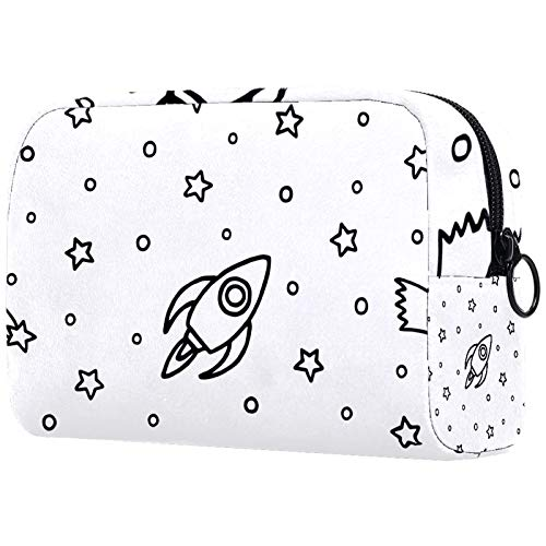 Double-Layer Travel Cosmetic Bag, Large Cosmetic case Storage bagCartoon Rocket Stars Comet on White