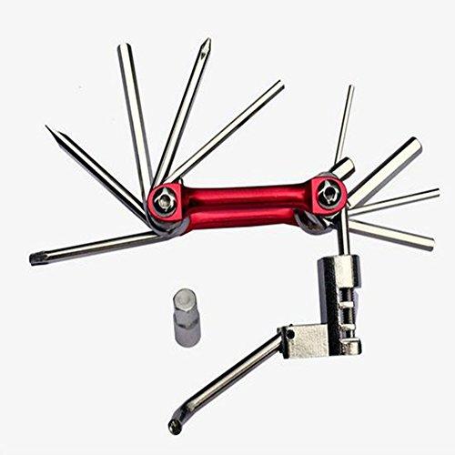 Xunqi 10 en 1 Mini Bike Kit de réparation Outil de poche Multi pliant Outil multifonction pour vélo outils essentiels pour cycliste, Red