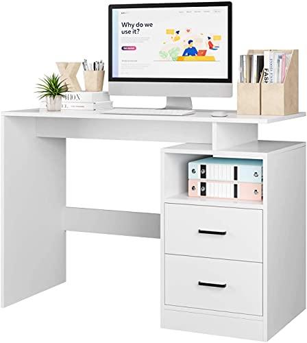 Escritorio Blanco Mesa Escritorio Mesa Estudio Escritorios Juveniles Escritorio Ordenador para Oficina Estudio Dormitorio con 2 Cajones y 1 Compartimento Abierto Moderno Blanco 108x48x76.5cm