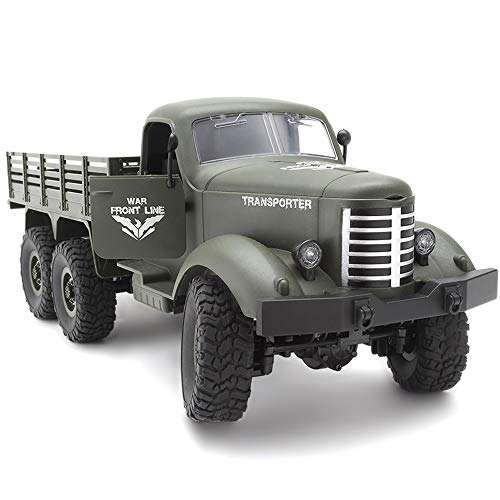 BSQS1 RC Military Truck Remote Control Transport Vehicle 6WD Off-Road Crawlers Vehicle 2.4Ghz Radio Controlled Army Truck Toy with Rechargeable Batteries Great Gift for Kids Boys Adults Green