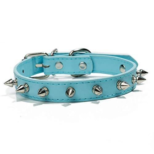Collar De Perro De Cuero De PU De Doble Cara Collar De Perro Bullet Accesorios para Perros Productos para Perros Cómodos Y Ajustables-Azul Cielo_L (29-38Cm)