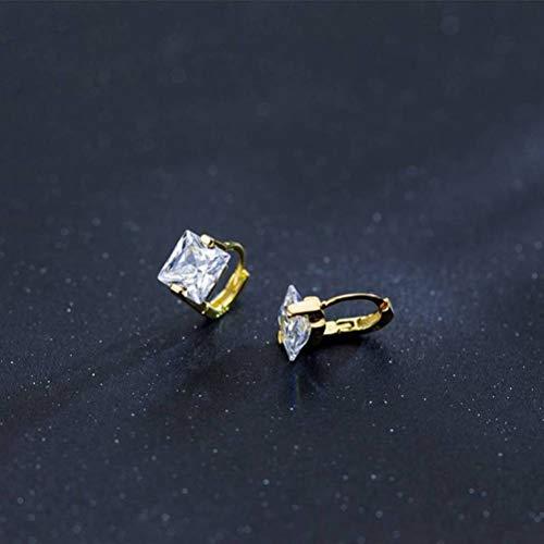 WOZUIMEI S925 Hebilla de Hongo Blanco Femenina Moda Coreana Simple Cuadrado Diamante Hebilla de Oreja Temperamento Mini Regalooro