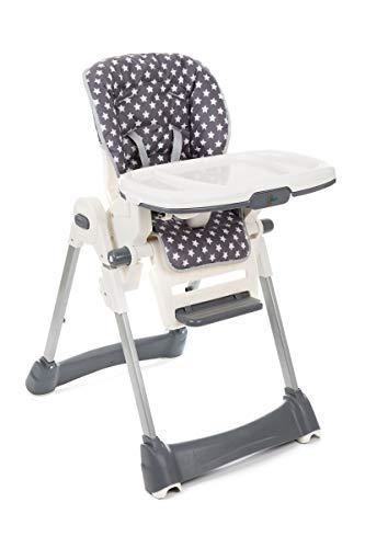 Fillikid Hochstuhl Exclusiv mit Liegefunktion | Babyhochstuhl höhenverstellbar mit abnehmbarem Essbrett | klappbarer Kombihochstuhl mit 5 Punkt-Gurt, Design:Sterne grau