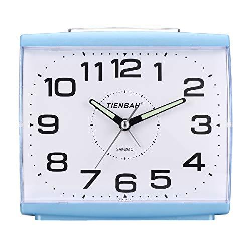Ayybboo Reloj Despertador Analógico, Despertador Silencio con Luz Sin Tictac Reloj de Mesa Simple con Snooze Reloj Despertador Dormitorio Estudio Despertadores para Niños (Azul)