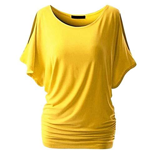 Damen Casual Sommer Hemd Kurzarm Lose Top Basic Tee Female Plus Size Basic Tunika Gr. XXXXXL, gelb
