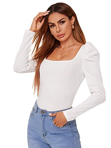 Romwe Women's Square Neck Leg of Mutton Long Sleeve Solid Fitted Tops Blouse White M