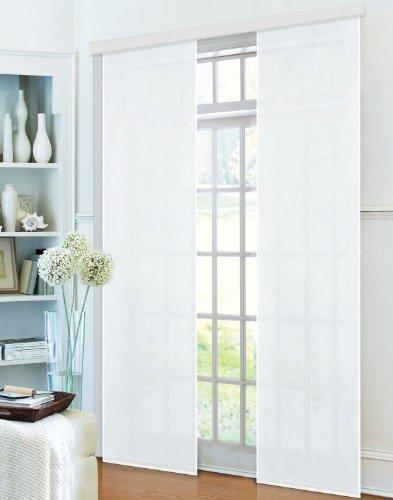Gardinenbox Flächenvorhang, Schiebegardine Blickdicht matt, 2 Stück 245x60, Weiß, aus Micro Satin (Mikrofaser Gewebe), mit Paneelwagen und Beschwerungsstange -085600-, 085600