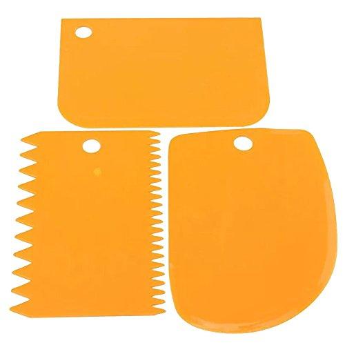 3piezas Masa Espátula de Plástico, Pâtisserie pasteles garnierer Espátula tarjeta–Rasqueta de Schneider Masa abstecher Naranja