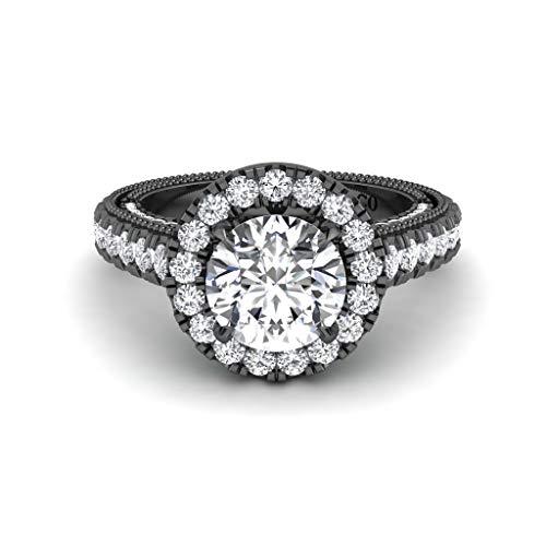 JBR Ilustración del anillo de plata de ley de corte redondo vintage halo