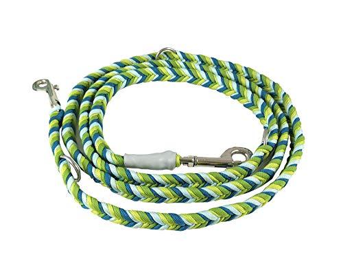 Paracord-Hundeleine, 2 m lang, 3-fach verstellbar, robust, handgeflochten, Paracord 550 grün/hellblau/petrol, andere Farben auf Anfrage möglich, passendes Halsband separat in meinem Shop erhältlich