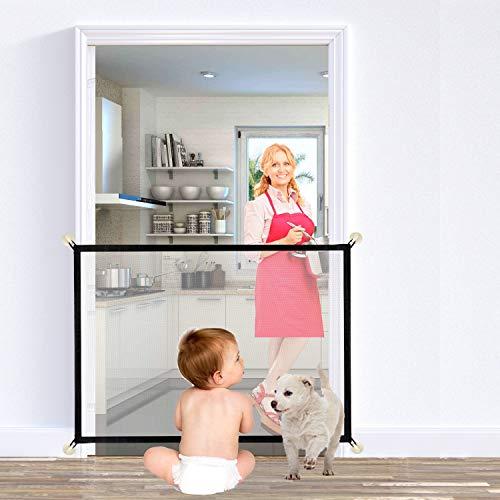 U-picks Aufgerüstet Hundebarrieren, Magic Gate Faltbar Hunde Türschutzgitter Tür- & Treppengitter für Babys, Hunde & Katzen, 100cm x 75cm