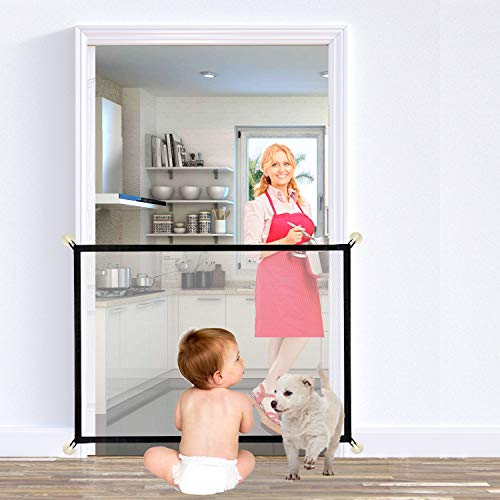 Upgraded Magic Gate For Dogs, Chew Proof Super Strong Mesh Net Portable Folding Stair Gate Safe Guard Pet Isolation Net Indoor And Outdoor Safety Gate Install Anywhere For Dogs Cats - 100x75cm