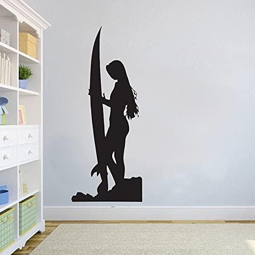 Calcomanías de pared de surf para chica surfista, pegatina