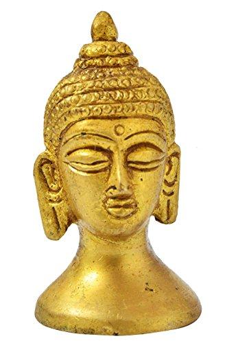 Exotic India Buddha-Kopf, kleine Statue, Mehrfarbig, 2,5 x 5,5 x 2,5 cm