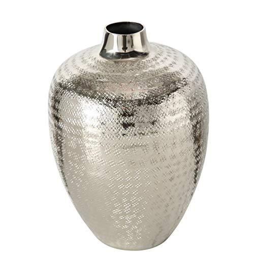Dekovase Vase Silber Metall Blumenvase Deko Tischdeko Tischvase Metallvase 25 cm
