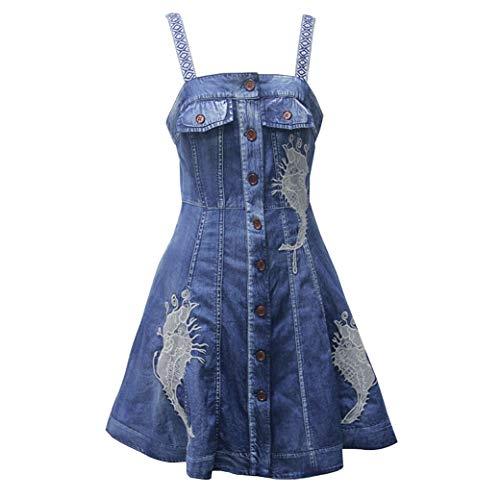 E-girl Damen Bestickt A-Linie Jeanskleid Ohne Arm Kleid,DA82170,Blau,XL