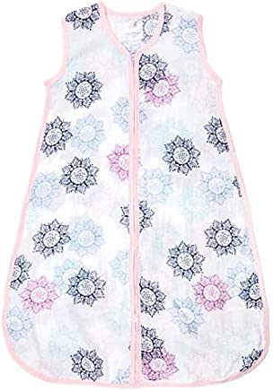 aden by aden + anais Classic Sleeping Bag,  100% Cotton Muslin,  Wearable Baby Blanket,  Small,  0-6 Months,  Pretty Pink