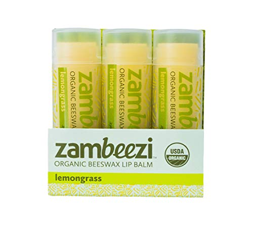 Beeswax Lip Balm by ZAMBEEZI  Lemongrass 3 pack  Crafted with USDA Certified Organic Fair Trade lip refreshing ingredients from Zambia Africa