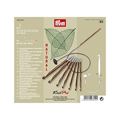 Prym Tunesische Set Natural 3,5-8,0 mm Häkelnadel, Wood, Mehrfarbig, 3,5-8 mm