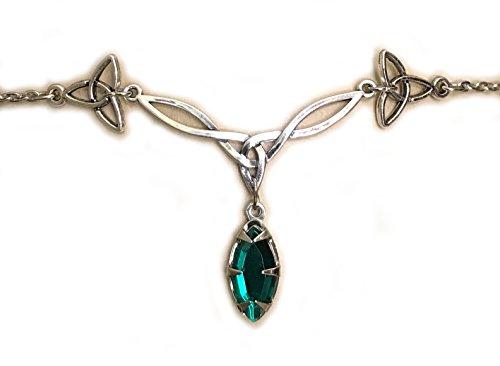 Moon Maiden Jewelry Celtic Triquetra Trinity Knot Headpiece Emerald Green