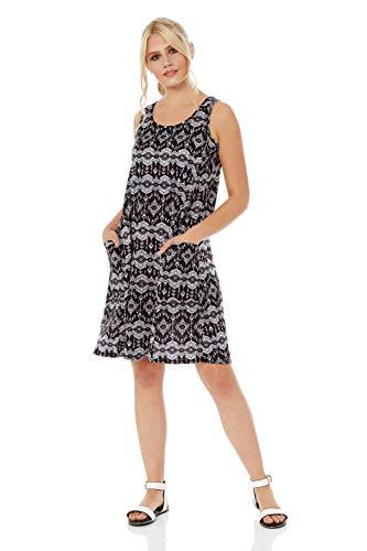 Romeinse Originelen Vrouwen A-lijn Tuniek Cami Strap Abstract Print Ronde hals Jurk met Zakken - Dames Mode Jurk voor Dagelijks Casual Staple Dagkleding Holiday Party Lounging