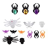 IMIKEYA 50 Piezas de Anillos de Araña de Halloween Anillo de Araña de Calavera Anillo de Araña de Diamante Juguetes Pastel Cupcake Decoración para Niños Accesorios de Disfraces Bolsa de