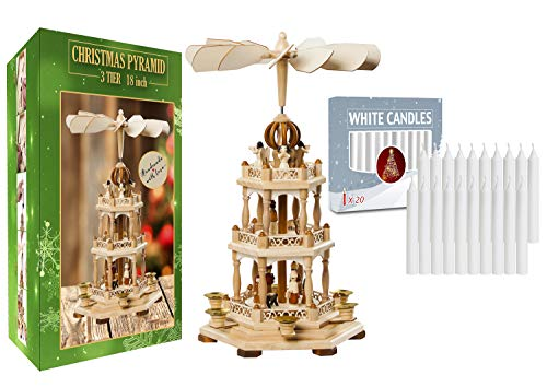 USA SUPREME German Christmas Decoration Pyramid-18in -with 20 pcs White Candles Included-Wood Nativity Scene -Christmas and Tabletop Holiday Décor -Carousel-German Design (18 Inches 1.0)