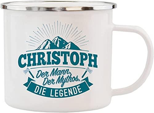 History & Heraldry Echter Kerl - Emaille Becher Christoph - individuelle Tasse mit Name und Spruch