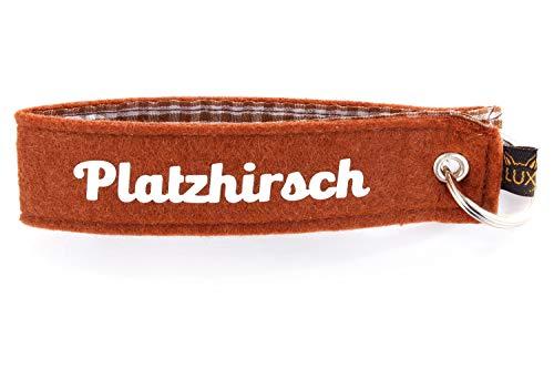 Bayerischer Filz Schlüsselanhänger Platzhirsch, Schlüsselband als kleines Geschenk für Bayern-Fans und Zuagroaste