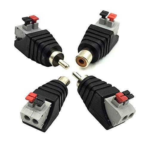 Ytian 2 Paare Lautsprecher, Phono AV RCA männlich/Female Stecker auf 2 weiblich Screw Terminal Video-Audio-Balun Spring '-DC-Netzteil Adapter Stecker für Videokameras