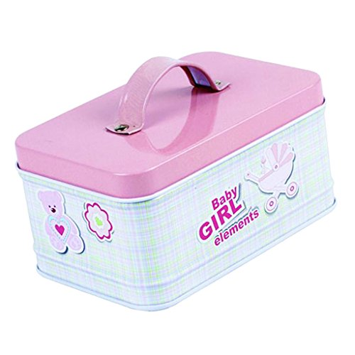 joyMerit Weißblech Schmuck Tee Süßigkeits Geschenkbox Vorratsgläser Mit Deckel Griff Tee Kaffee Süßigkeit - pink Bär