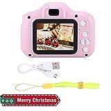 Exliy Mini Fotocamera Digitale con Schermo da 2 Pollici, Fotocamera per Bambini HD 2448 Megapixel Obiettivo da 8 MP, videocamera HD 4X Zoom Digitale, Supporti per cornici, Scheda TF da 32 GB(Rosa)