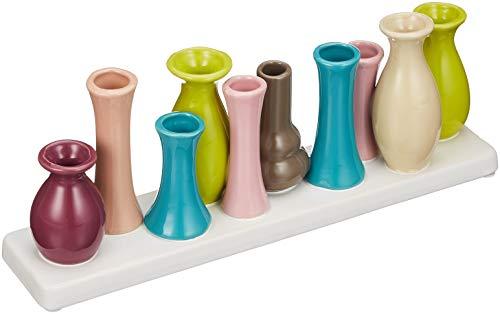 Keramikvasenset Blumenvase Keramikvasen Bunt Vase Blumen Pflanzen Keramik Set Deko Dekoration 10 Multicolored Vases - Model 1