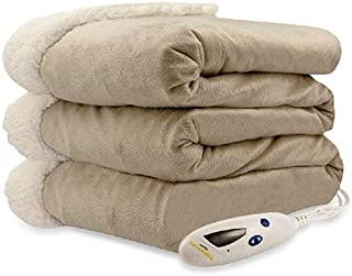 Biddeford 4480-9064136-700 Heated Micro Mink/Sherpa Throw, 50 by 62-Inch, Taupe