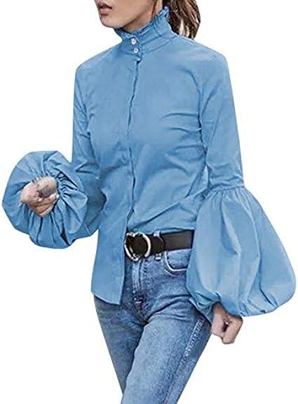 Camisa túnica Cuello Alto Mujer con Botones Elegante Slim ...