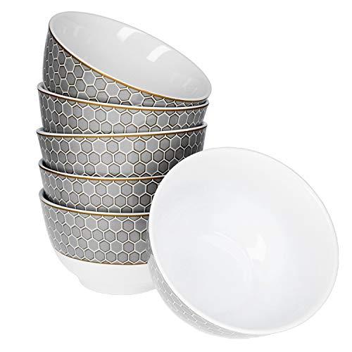 Van Well Honey 6er Müsli-Schalen-Set I Elegante Frühstücks-Schüsseln aus Porzellan I Moderne Cereal Bowl im 50er Jahre Retro-Look - Waben-Dekor in Silber & Gold I Müsli-Schüssel 700 ml 6 Stück