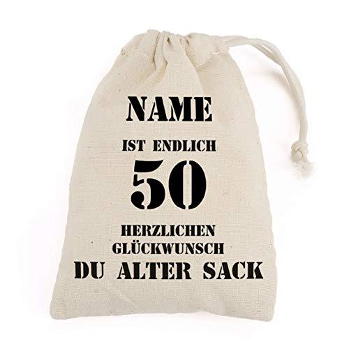 Herz & Heim® Kleiner Geschenkbeutel - Alter Sack - mit Namen des Geburtstagskindes Bedruckt 50