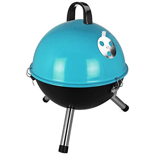 TW24 Mini Kugelgrill mit Farbwahl Standgrill Holzkohlegrill klein Campinggrill Festival Grill (Blau)