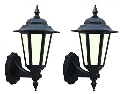 2x LED Outdoor schwarz traditionellen Stil 7Watt LED Wand-Laterne integrierter LED-Diffuses ideal für Deko Outdoor Nutzung [Energieeffizienzklasse A +]