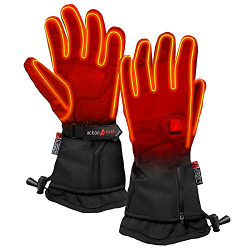 ActionHeat Battery Heated Gloves for Men, Premium Electric Gloves w/ 3-Heat Settings, Extended Gauntlet, Touch-Control, Rechargeable Electric Gloves