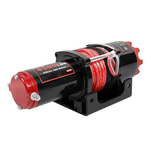 X-BULL 12V Cuerda Sintético Cabestrantes Eléctricos 4500LBS/2041KG Winch 10meter Wireless ATV 4WD