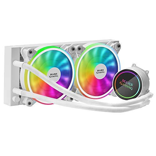 MARSGAMING ML240W, Refrigeración líquida, TDP 400W, Ventilador Dual ARGB, Blanco