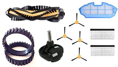 EPIEZA Kit de Accesorios para Cecotec Conga 990 Excellence y ECOVACS N79 y N79S. Recambios con neumáticos y Rueda Delantera