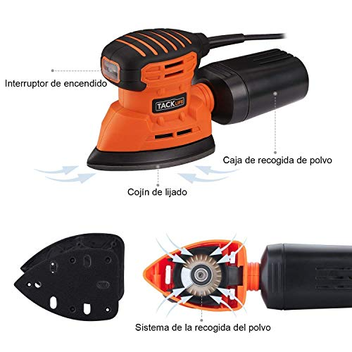 TACKLIFE Lijadora Eléctrica, 12000RPM 130W Lijadora Mouse para Madera con Recogida de Polvo, Conectada a Aspiradora de 35mm, Interruptor a Prueba de Polvo, 12 Lijas (6x 80/180 Granos) PMS01A