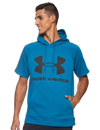Under Armour Herren Oberteil Rival Fleece Logo Shortsleeve Hoodie, Grün, XL, 1345624-417