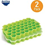 Ice Cube Trays, Arctico 2 Pack Food Grade Silicone Flexible Ice Cube Molds with Lid, BPA Free with...