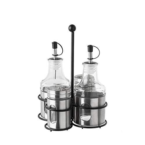 LOLAhome Aceitera y vinagrera de Acero Inoxidable Modernas para Cocina (Pack con 2 Saleros, Plata)