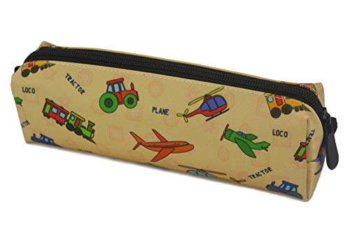 Kids Zippered Pencil Case for Boys and Girls Locomotive Plane Helicopter Train Tractor Students Pens Markers Holder for School and Travel