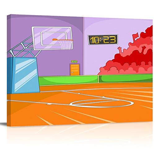 MuswannaA Canvas Wall Art Print Artwork Wall Art Decor Cartoon Orange Basketball Court Timer and Basket Stretched & Framed Artwork Prints Ready to Hang Home Decor Wall Decor- 24''x16''